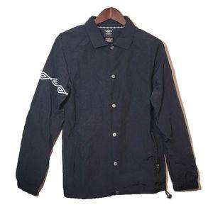 Umbro Premier Button Up Nylon Windbreaker Black XS